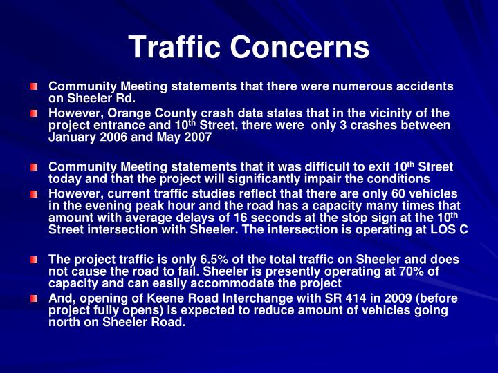 Traffic Concerns