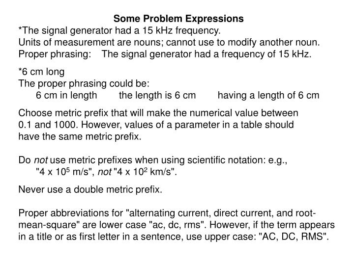 Some Problem Expressions