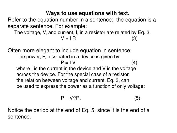 Ways to use equations with text.