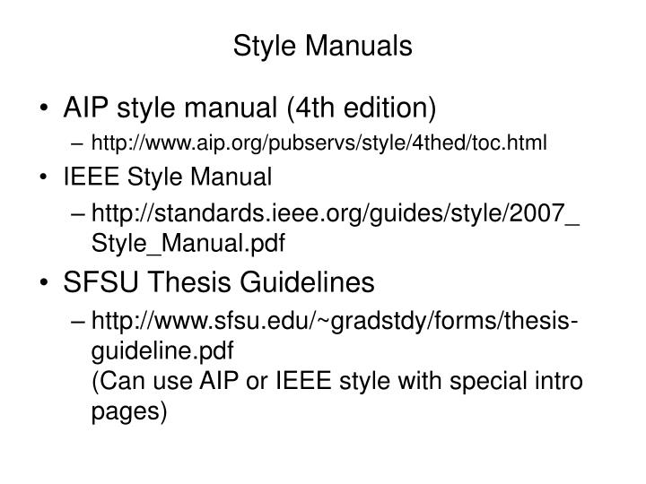 Style manuals