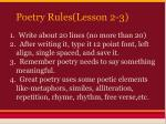 poetry rules lesson 2 3