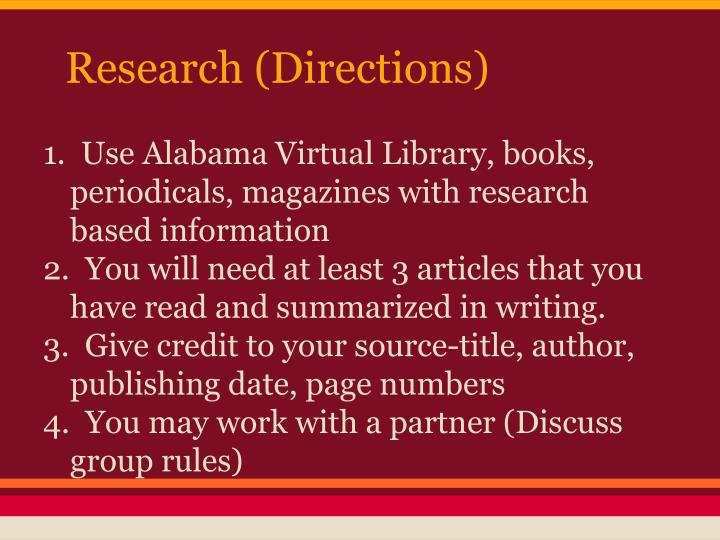 Research (Directions)