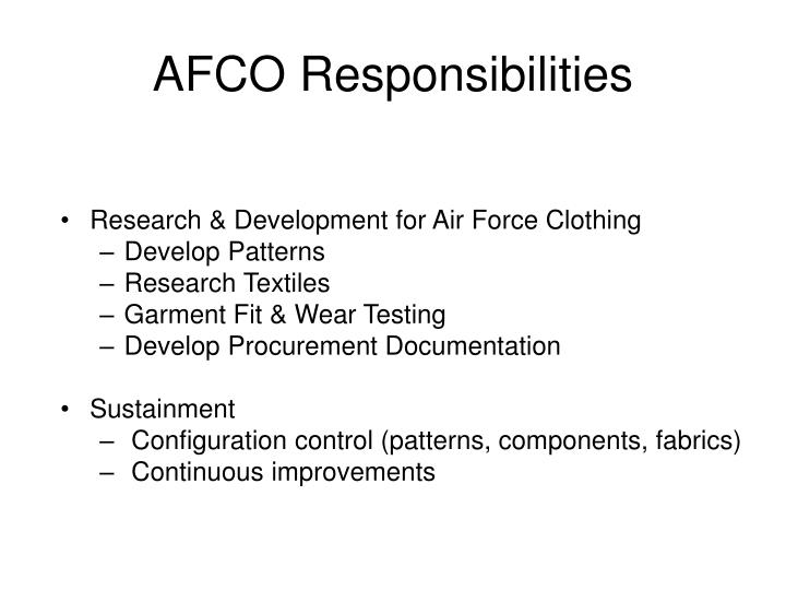 Afco responsibilities