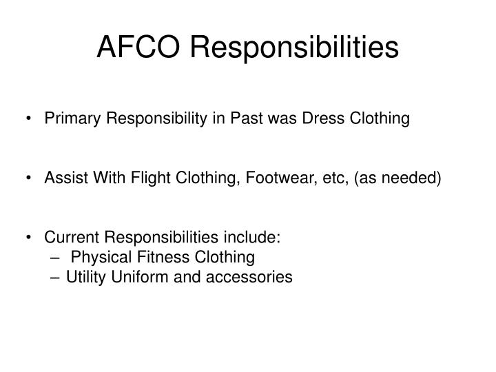 Afco responsibilities1