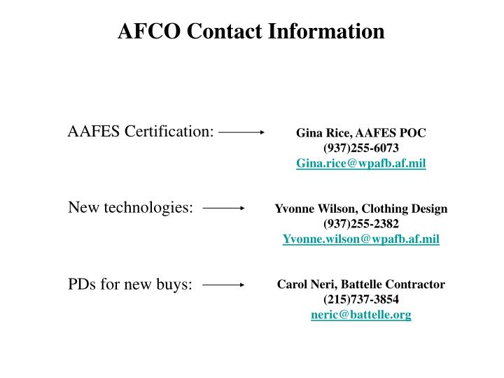 AFCO Contact Information
