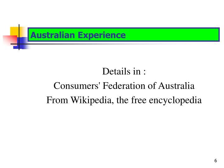 Australian Experience