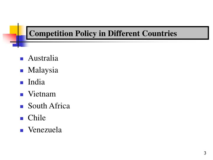 Competition policy in different countries