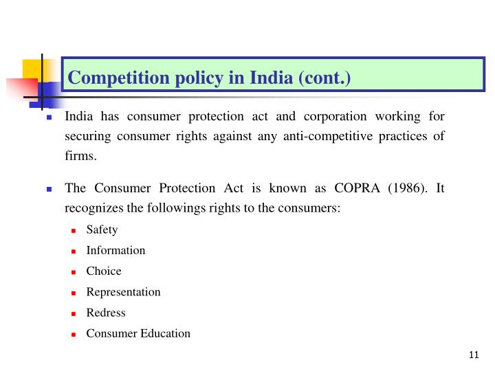 Competition policy in India (cont.)