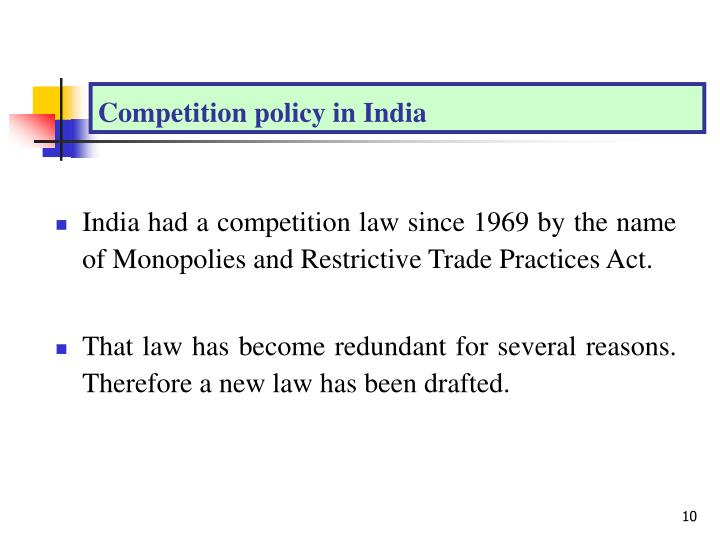Competition policy in India