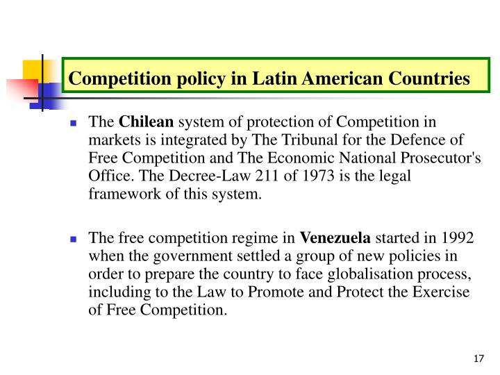Competition policy in Latin American Countries