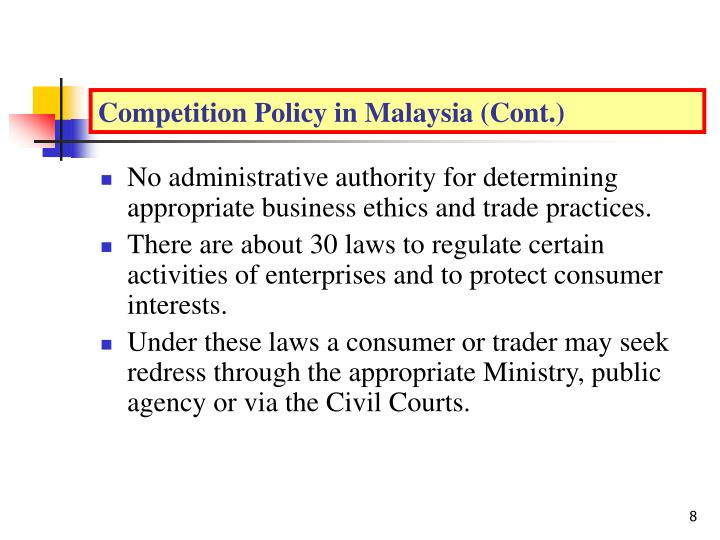 Competition Policy in Malaysia (Cont.)