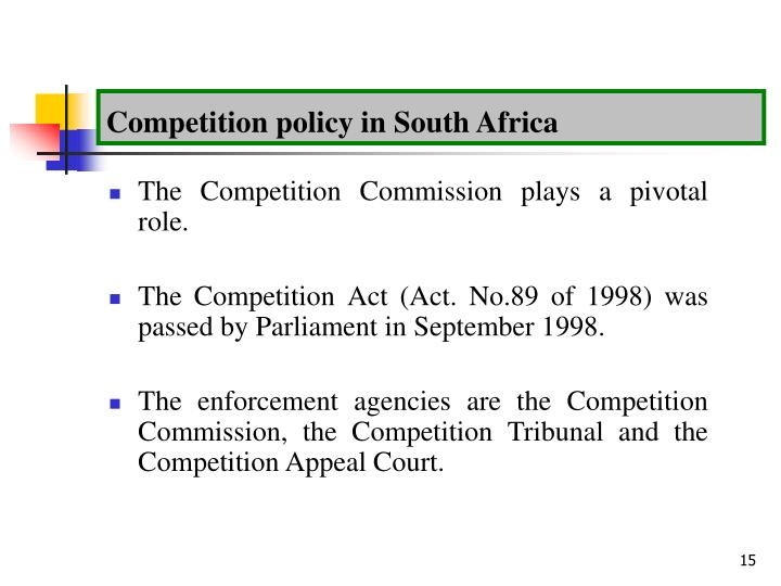Competition policy in South Africa