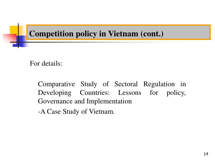 Competition policy in Vietnam (cont.)