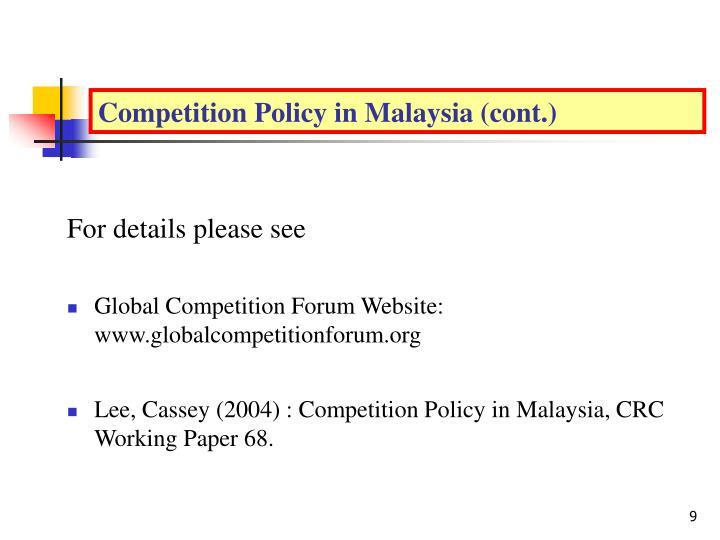 Malaysia (Continued…)