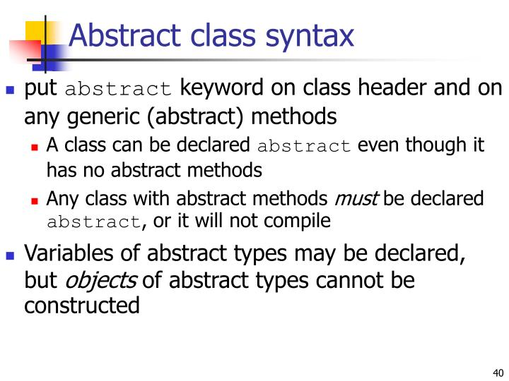 Abstract class syntax