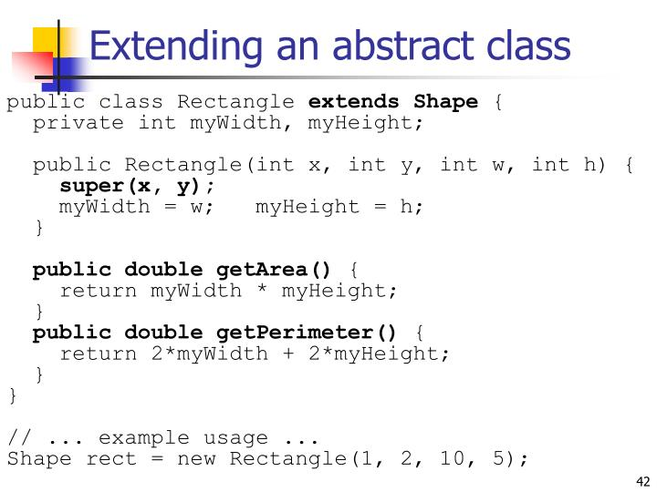 Extending an abstract class