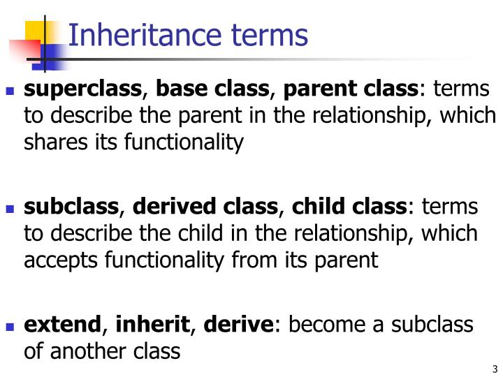Inheritance terms