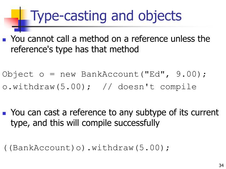 Type-casting and objects