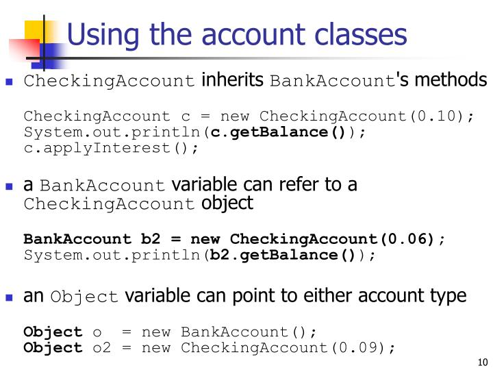 Using the account classes