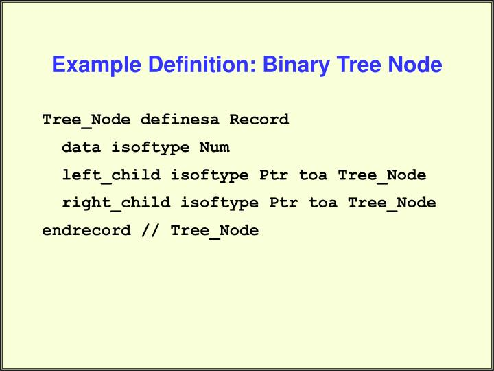Example Definition: Binary Tree Node