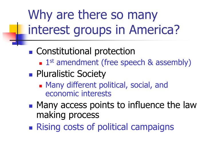 the growth of interest groups in america This study analyzes the resources and strategies of public interest groups and industry representatives been submerged in the continuing political debate about old growth forests and endan- gered species protection among the american public, public interest groups exercise substantial influence upon public natural.