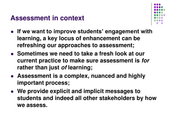 Assessment in context