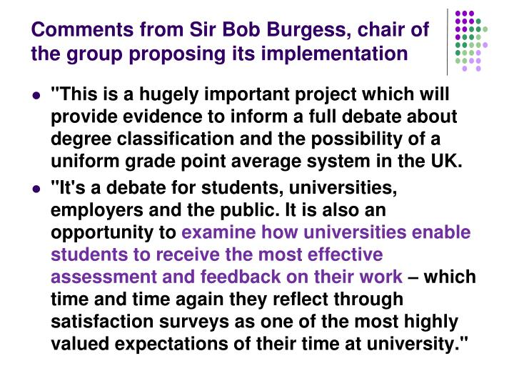Comments from Sir Bob Burgess, chair of the group