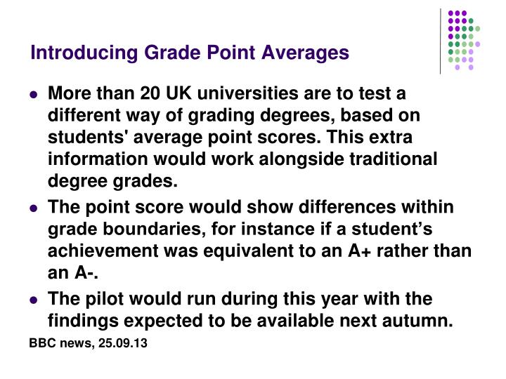 Introducing Grade Point Averages
