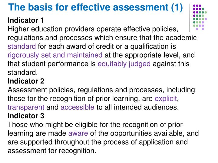 The basis for effective assessment (1)