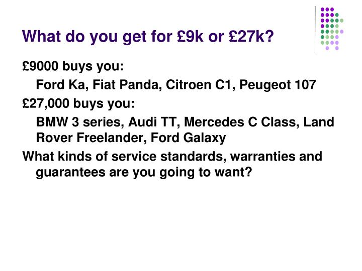 What do you get for £9k or £27k?