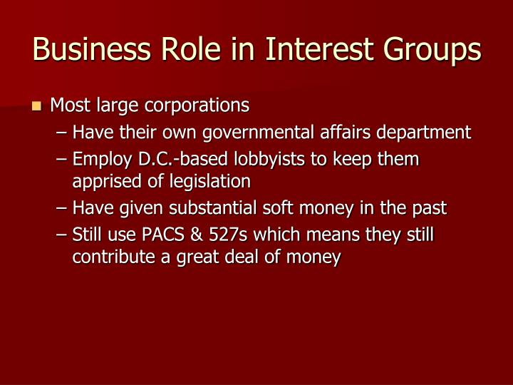 Business Role in Interest Groups