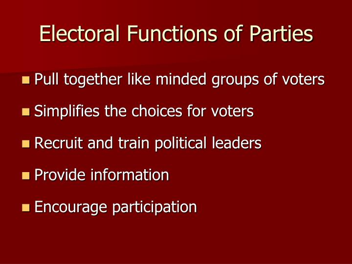 Electoral Functions of Parties