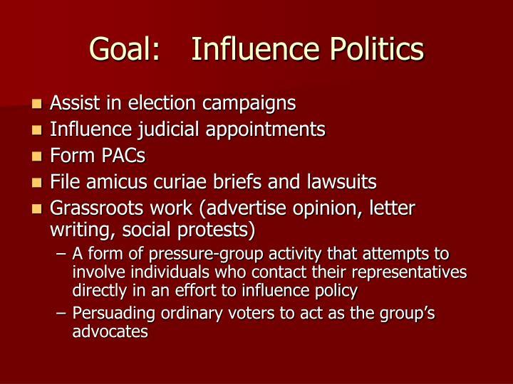 Goal:   Influence Politics