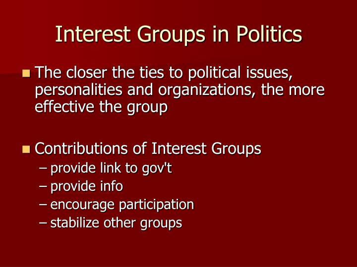 Interest Groups in Politics