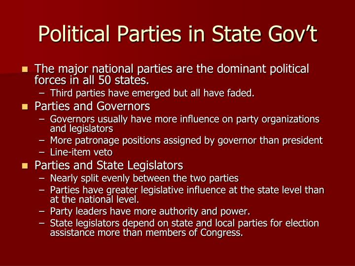Political Parties in State Gov't