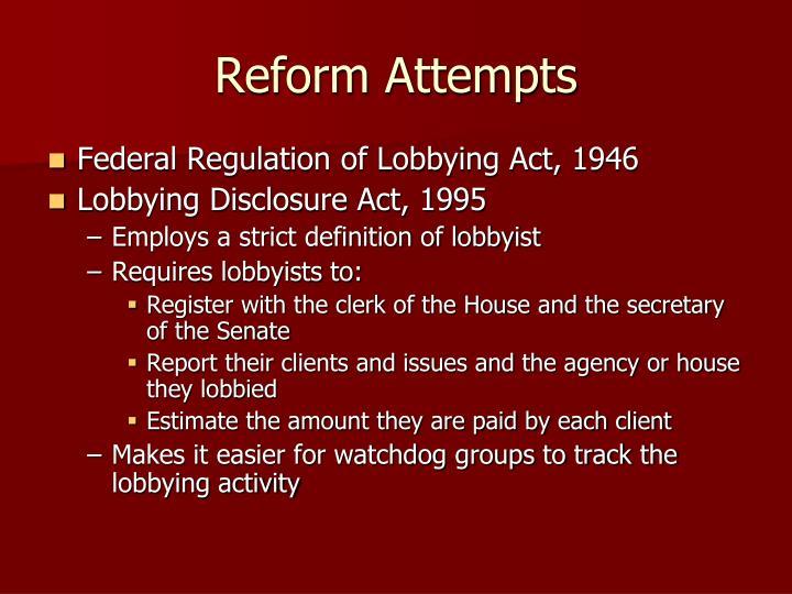 Reform Attempts