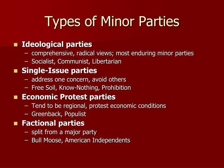 Types of Minor Parties