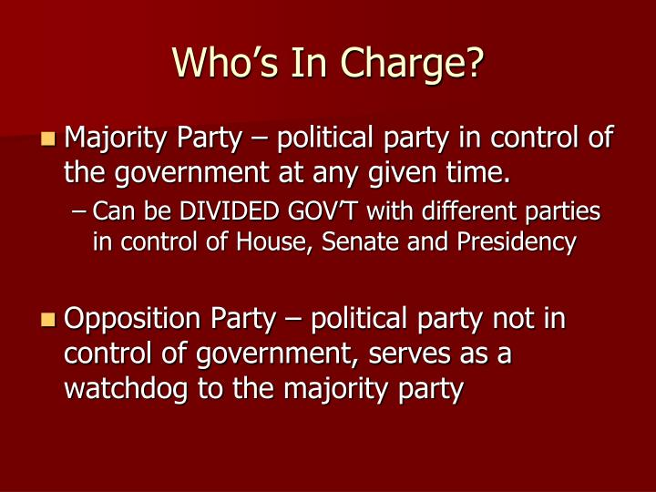 Who s in charge