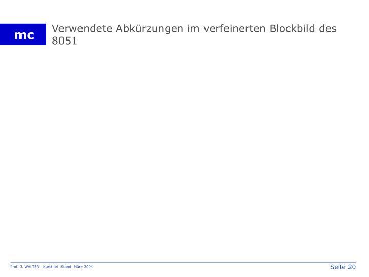 Verwendete Abkürzungen im verfeinerten Blockbild des 8051
