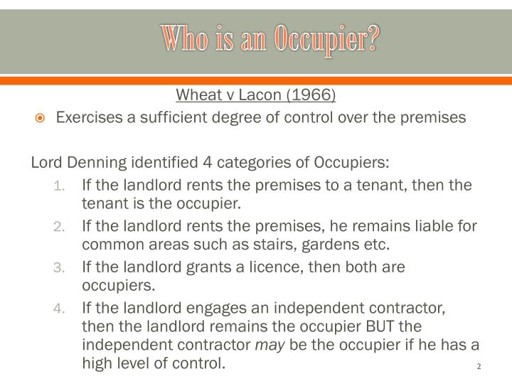 Who is an occupier