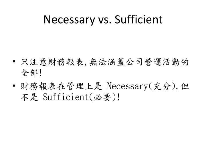 Necessary vs. Sufficient