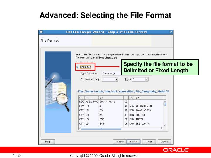Advanced: Selecting the File Format