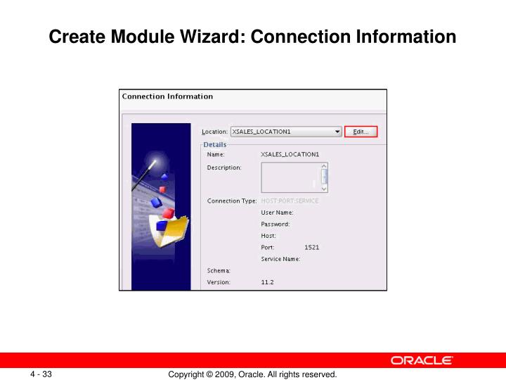 Create Module Wizard: Connection Information