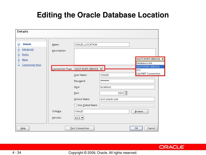 Editing the Oracle Database Location