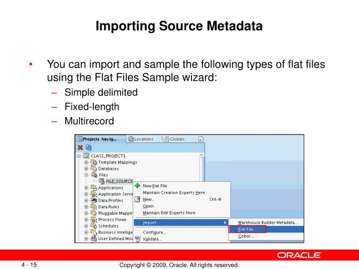 Importing Source Metadata
