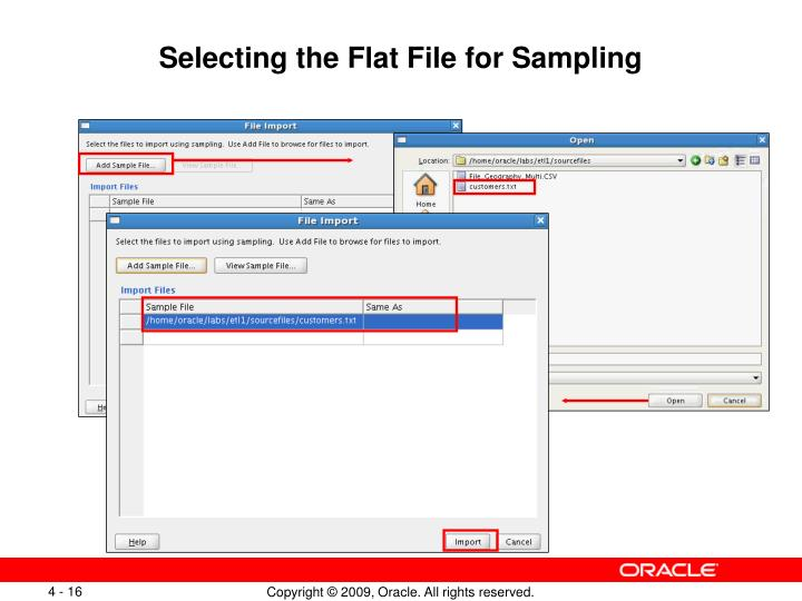 Selecting the Flat File for Sampling