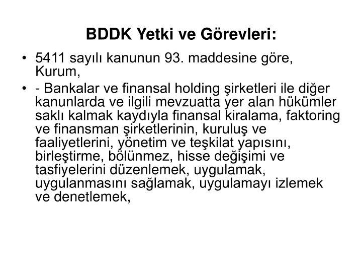 BDDK Yetki ve Görevleri: