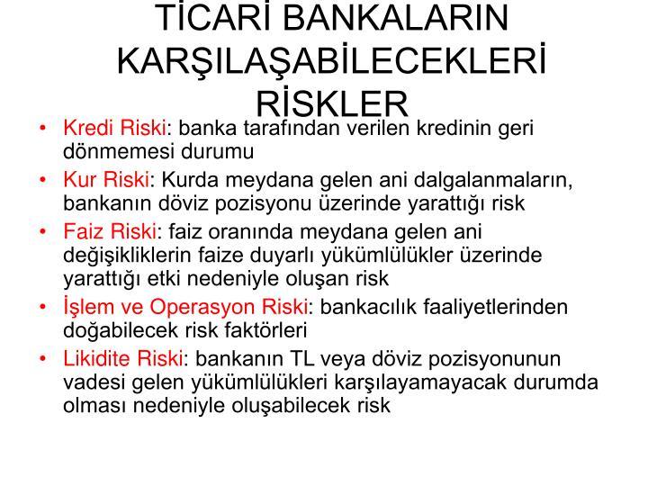TİCARİ BANKALARIN KARŞILAŞABİLECEKLERİ RİSKLER