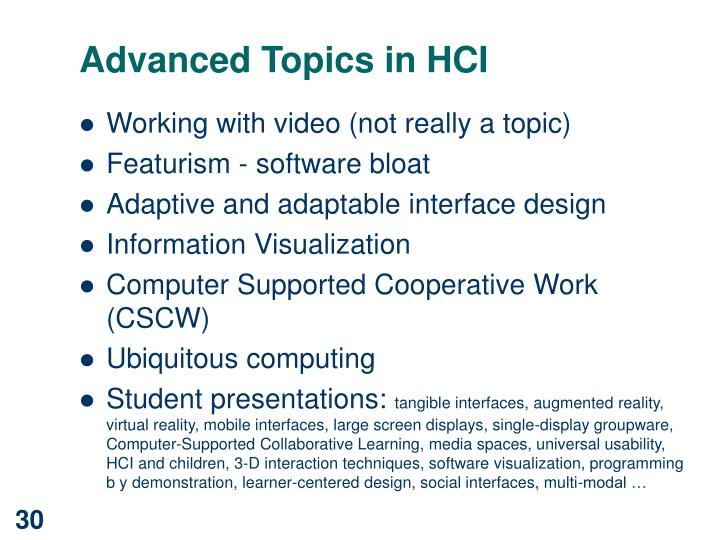 Advanced Topics in HCI