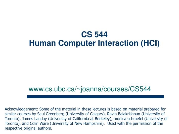 Cs 544 human computer interaction hci